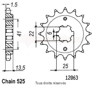 Product image: Sifam - 12063CZ15 - Sprocket Xl 600v Transalp 87-88   12063cz   15 teeth   TYPE : 525