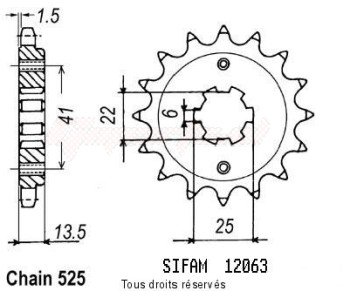 Product image: Sifam - 12063CZ16 - Sprocket Vt 600 Chopper 88   12063cz   16 teeth   TYPE : 525