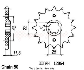 Product image: Sifam - 12064CZ15 - Sprocket Ft 500 C 82-84   12064cz   15 teeth   TYPE : 530