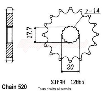 Sifam Kit cha/îne Yamaha Yz 125 Super Renforcee An 91 92 Kit 13 51