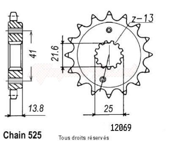 Product image: Sifam - 12069CZ15 - Sprocket Xlv Transalp 89-08   12069cz   15 teeth   TYPE : 525