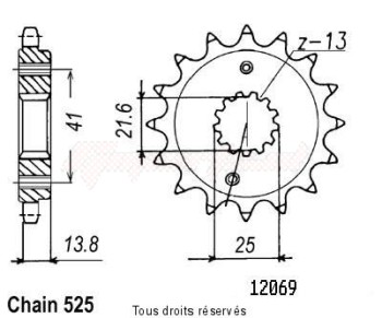Product image: Sifam - 12069CZ16 - Sprocket Vt 600 Shadow 90-99 Xrv 650 Africa Twin 88-92 12069cz   16 teeth   TYPE : 525