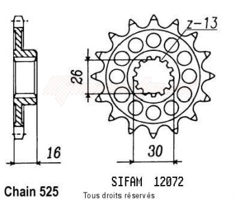 Product image: Sifam - 12072CZ16 - Sprocket Rc30 Vfr 750 R 89-92   12072cz   16 teeth   TYPE : 525