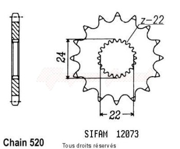 Product image: Sifam - 12073CZ13 - Sprocket 125 Tuareg Rally 90-93   12073cz   13 teeth   TYPE : 520