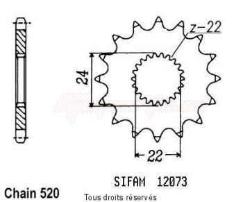 Product image: Sifam - 12073CZ14 - Sprocket Aprilia 125 Pegaso 89-9 125 Tuareg Wind 89-92 12073cz   14 teeth   TYPE : 520