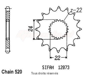 Product image: Sifam - 12073CZ15 - Sprocket Rs 125 Extrema 93-00   12073cz   15 teeth   TYPE : 520
