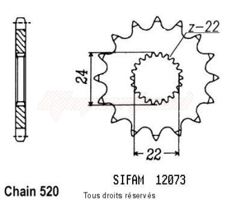 Product image: Sifam - 12073CZ16 - Sprocket Rs 125 Extrema 93-00   12073cz   16 teeth   TYPE : 520