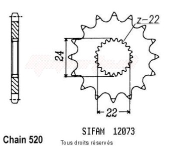 Product image: Sifam - 12073CZ17 - Sprocket Aprilia 125 Rx 91-99   12073cz   17 teeth   TYPE : 520