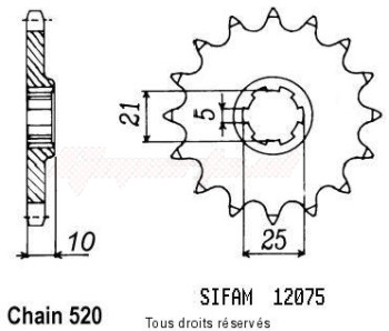 Product image: Sifam - 12075CZ15 - Sprocket Cagiva 600 W16 96-98 Cagiva 600 River 95-98 12075cz   15 teeth   TYPE : 520