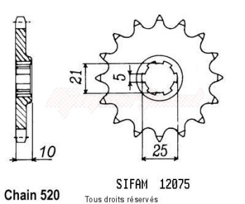 Product image: Sifam - 12075CZ16 - Sprocket Cagiva 350 W12 93-96 Cagiva 600 W16 95 12075cz   16 teeth   TYPE : 520