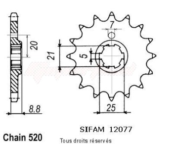 Product image: Sifam - 12077CZ14 - Sprocket Husqvarna 250 Cr/Wr 1989-1998 12077cz   14 teeth   TYPE : 520
