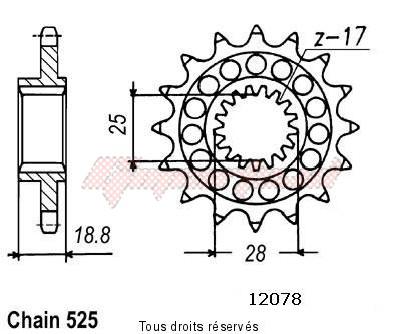 Product image: Sifam - 12078CZ16 - Sprocket Rsv 1000 98-00 Type 525   12078cz   16 teeth   TYPE : 525  0