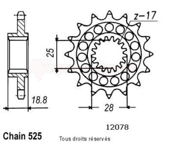 Product image: Sifam - 12078CZ16 - Sprocket Rsv 1000 98-00 Type 525   12078cz   16 teeth   TYPE : 525