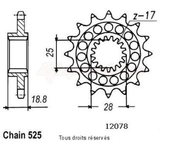 Product image: Sifam - 12078CZ17 - Sprocket Rsv 1000 98-00 Type 525   12078cz   17 teeth   TYPE : 525