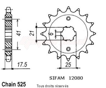 Product image: Sifam - 12080CZ15 - Sprocket Gb500TT Club Man 78-80   12080cz   15 teeth   TYPE : 525