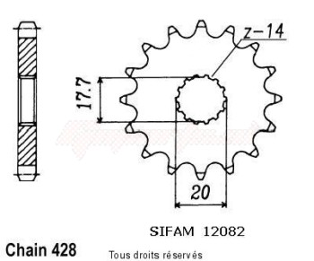 Product image: Sifam - 12082CZ17 - Sprocket Dt 125 R 88-92   12082cz   17 teeth   TYPE : 428