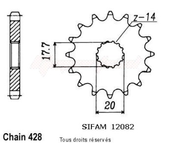 Product image: Sifam - 12082CZ18 - Sprocket Tzr 125 Rr 96-98 Tzr 125 R Italie 91-93 12082cz   18 teeth   TYPE : 428