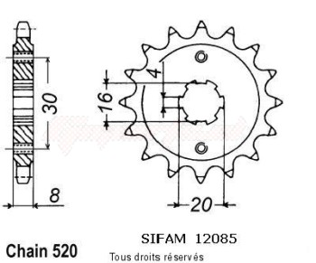 Product image: Sifam - 12085CZ12 - Sprocket Husqvarna 125 Cr/Wr 1991-1994 12085cz   12 teeth   TYPE : 520