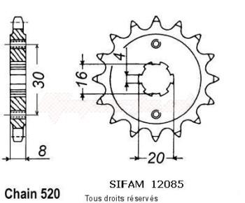 Product image: Sifam - 12085CZ13 - Sprocket Husqvarna 125 Cr/Wr 1991-1994 12085cz   13 teeth   TYPE : 520