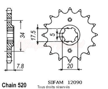 Product image: Sifam - 12090CZ13 - Sprocket Nsr 125 R 89-91   12090cz   13 teeth   TYPE : 520