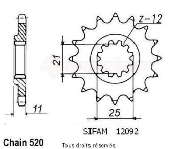 Product image: Sifam - 12092CZ13 - Sprocket Husqvarna 610 Tc 91-98 Husqvarna 510 Tc 90-91 12092cz   13 teeth   TYPE : 520