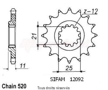 Product image: Sifam - 12092CZ14 - Sprocket Husqvarna Tous Modeles 4t 1990-1999 12092cz   14 teeth   TYPE : 520