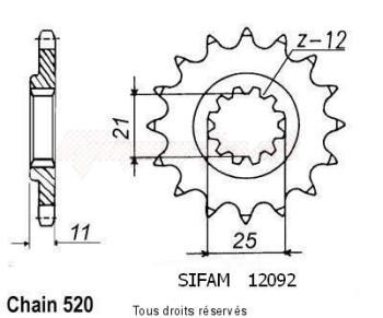 Product image: Sifam - 12092CZ15 - Sprocket Husqvarna Tous Modeles 4t 1990-1999 12092cz   15 teeth   TYPE : 520