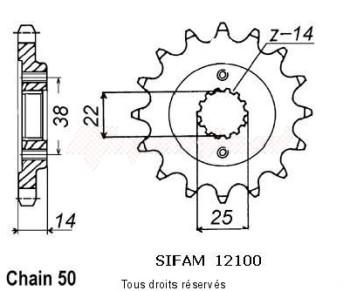 Product image: Sifam - 12100CZ14 - Sprocket 900 Elefant Expl.90-91   12100cz   14 teeth   TYPE : 530