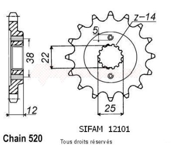 Product image: Sifam - 12101CZ15 - Sprocket Ducati 750 Type o 86-90   12101cz   15 teeth   TYPE : 520