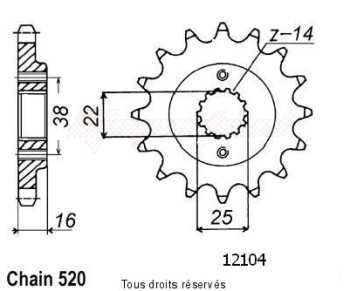 Product image: Sifam - 12104CZ14 - Sprocket Duc 600 Super Sport 95-   12104cz   14 teeth   TYPE : 520