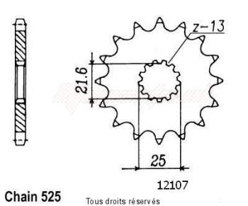 Product image: Sifam - 12107CZ15 - Sprocket Zr 750 Zephyr 91-94   12107cz   15 teeth   TYPE : 525