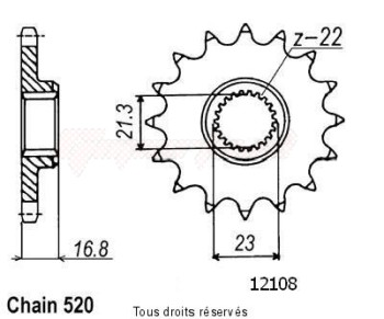Product image: Sifam - 12108CZ16 - Sprocket Xj 600 Diversion 92-02   12108cz   16 teeth   TYPE : 520