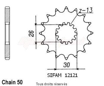 Product image: Sifam - 12121CZ17 - Sprocket Triumph 750/900/1000 91   12121cz   17 teeth   TYPE : 530