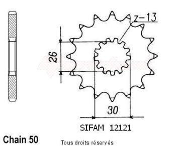 Product image: Sifam - 12121CZ19 - Sprocket Triumph 1200 Trophy 99   12121cz   19 teeth   TYPE : 530
