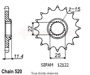 Product image: Sifam - 12122CZ14 - Sprocket KTM Tous Modeles 4t 1991-1998 12122cz   14 teeth   TYPE : 520
