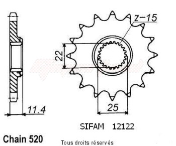 Product image: Sifam - 12122CZ15 - Sprocket KTM Tous Modeles 4t 1991-1998 12122cz   15 teeth   TYPE : 520