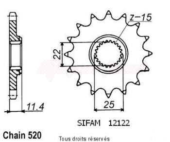 Product image: Sifam - 12122CZ16 - Sprocket KTM 620 Egs 94-98 Gs 400 Duke 94-98 12122cz   16 teeth   TYPE : 520