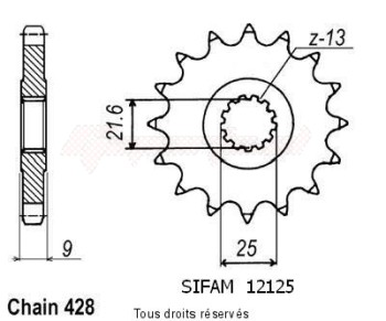 Product image: Sifam - 12125CZ20 - Sprocket Sr 500 91-95   12125cz   20 teeth   TYPE : 428