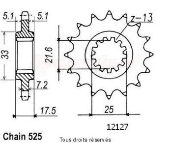 Product image: Sifam - 12127CZ15 - Sprocket Cb500 R/Y 94-00   12127cz   15 teeth   TYPE : 525