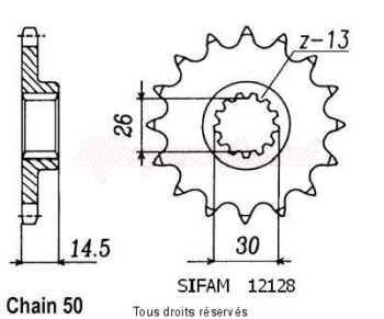 Product image: Sifam - 12128CZ18 - Sprocket Cbx 1000 81-82   12128cz   18 teeth   TYPE : 530