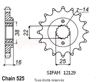 Product image: Sifam - 12129CZ14 - Sprocket Ducati 748 Strada 95-98   12129cz   14 teeth   TYPE : 525