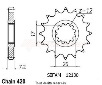 Product image: Sifam - 12130CZ12 - Sprocket Minarelli 50 99-07 415   12130cz   12 teeth   TYPE : 415