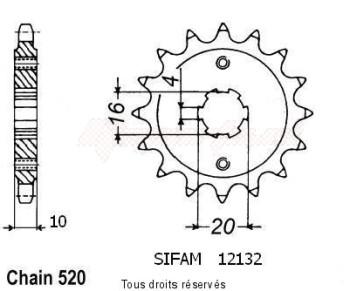 Product image: Sifam - 12132CZ12 - Sprocket Husqvarna 125 Wre 125 Cr/Wr 1995-1998 12132cz   12 teeth   TYPE : 520