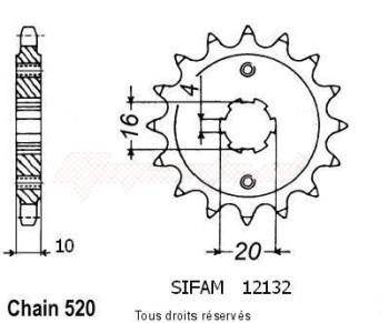 Product image: Sifam - 12132CZ14 - Sprocket Husqvarna 125 Wre   12132cz   14 teeth   TYPE : 520
