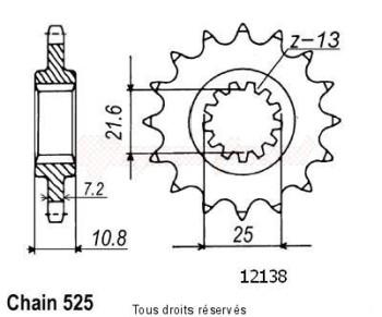 Product image: Sifam - 12138CZ16 - Sprocket Tdm 850 96-00 Trx 850 96-98 12138cz   16 teeth   TYPE : 525