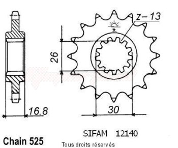 Product image: Sifam - 12140CZ15 - Sprocket Cbr 900 Rr 96-99   12140cz   15 teeth   TYPE : 525
