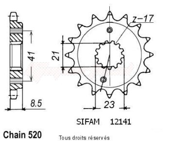 Product image: Sifam - 12141CZ15 - Sprocket Xr 400 R 96-01   12141cz   15 teeth   TYPE : 520