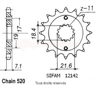 Product image: Sifam - 12142CZ13 - Sprocket Xr 250 R 96-01   12142cz   13 teeth   TYPE : 520
