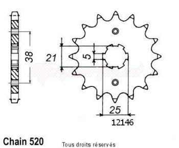 Product image: Sifam - 12146CZ13 - Sprocket Xv 125 Virago 97-00   12146cz   13 teeth   TYPE : 520