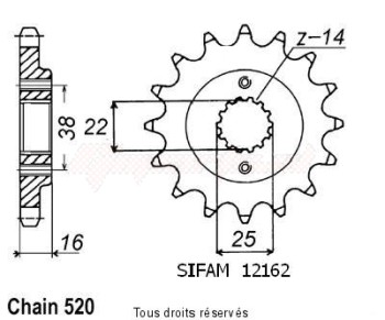 Product image: Sifam - 12162CZ15 - Sprocket Ducati 900 Monster Ie 0   12162cz   15 teeth   TYPE : 520